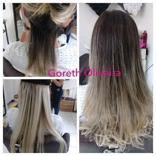 luzes platinadas cabelos mega hair loiro