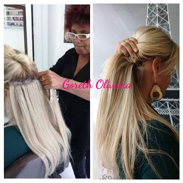 mega hair loiro luzes platinadas